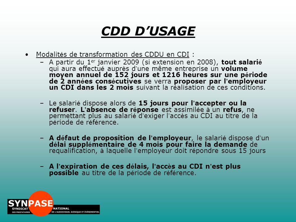 CDD D'USAGE Modalités de transformation des CDDU en CDI :