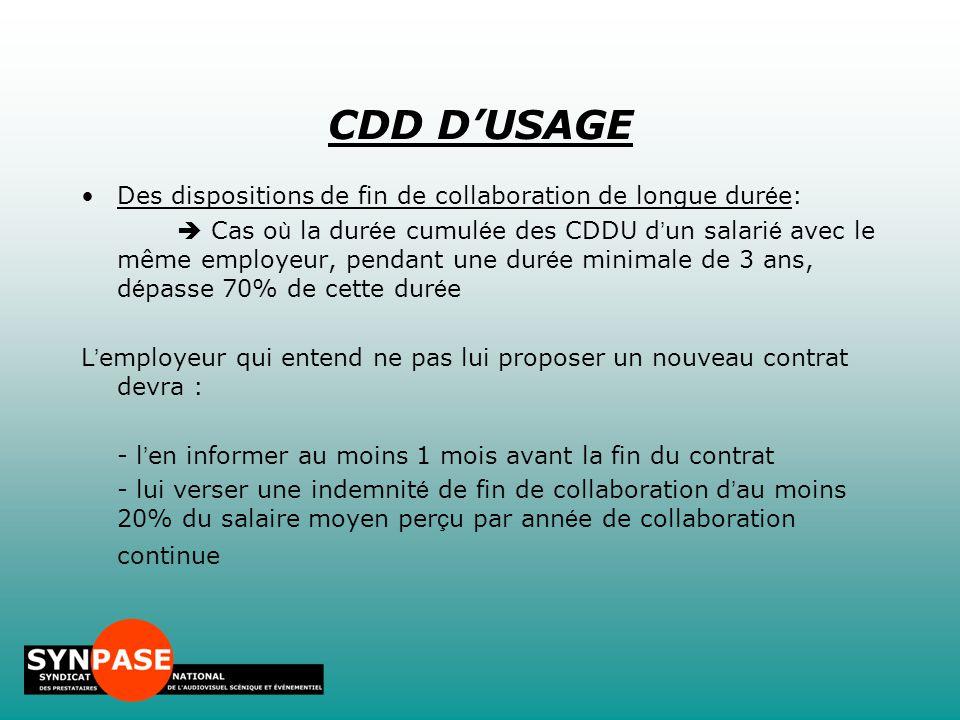 CDD D'USAGE Des dispositions de fin de collaboration de longue durée: