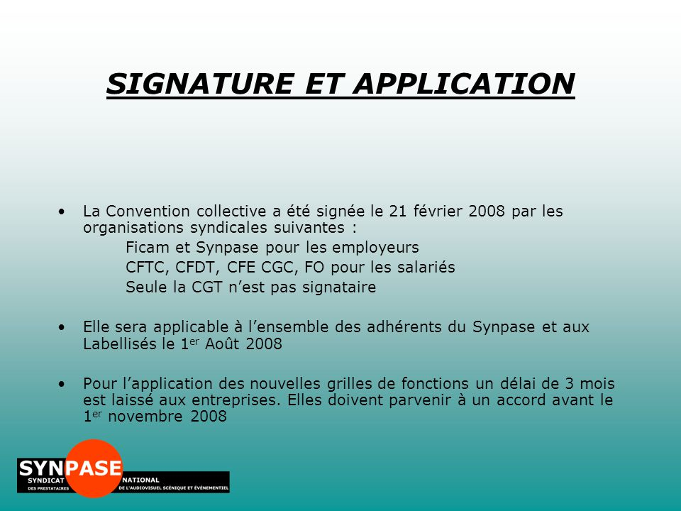 SIGNATURE ET APPLICATION
