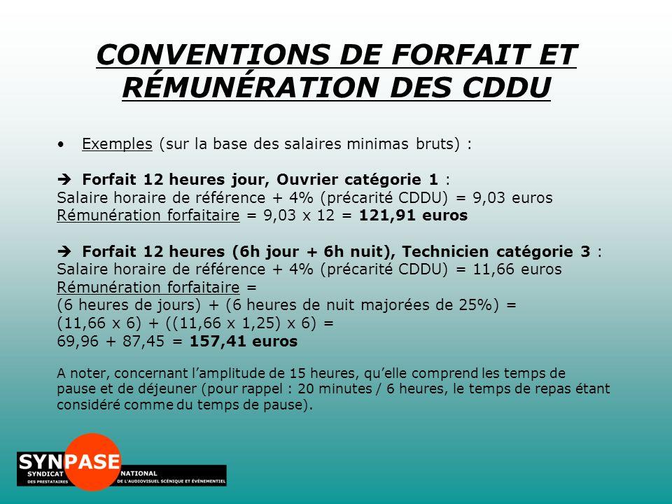 CONVENTIONS DE FORFAIT ET RÉMUNÉRATION DES CDDU