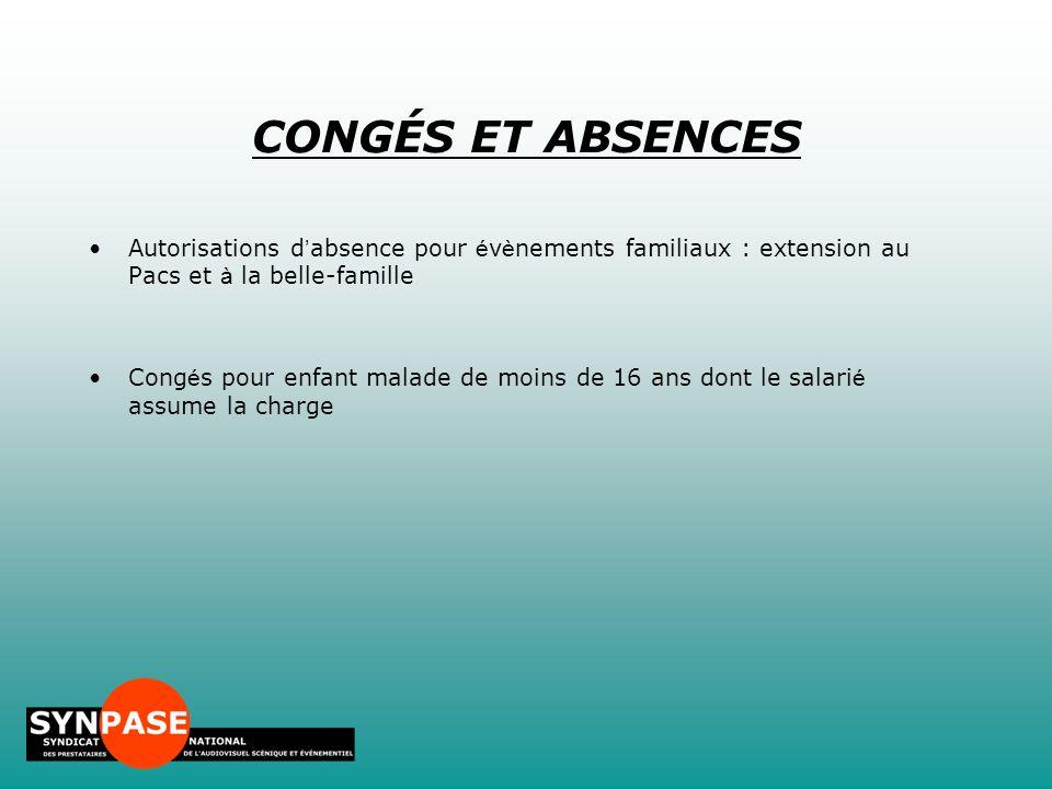 CONGÉS ET ABSENCES Autorisations d'absence pour évènements familiaux : extension au Pacs et à la belle-famille.