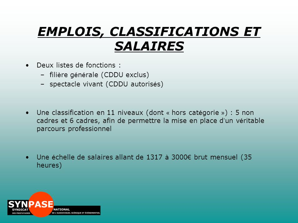 EMPLOIS, CLASSIFICATIONS ET SALAIRES