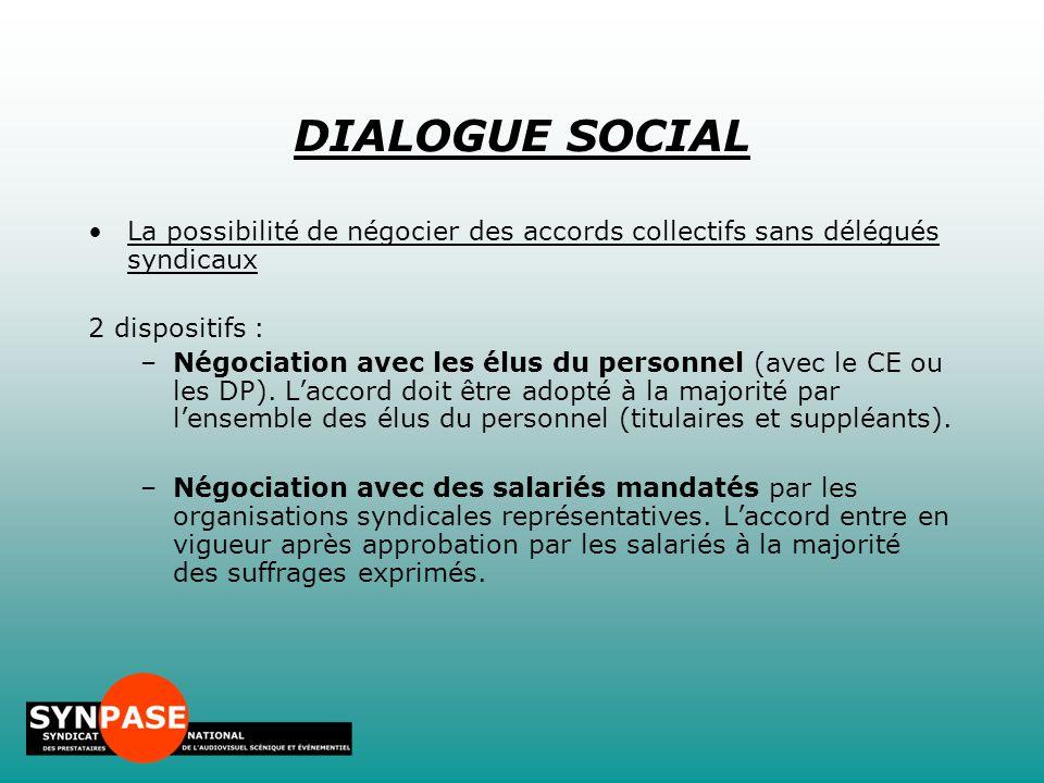 DIALOGUE SOCIAL La possibilité de négocier des accords collectifs sans délégués syndicaux. 2 dispositifs :