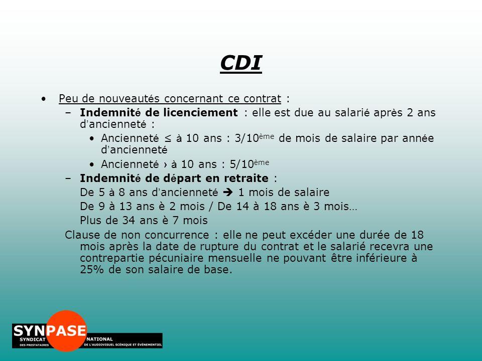 CDI Peu de nouveautés concernant ce contrat :