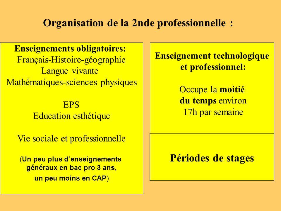 Organisation de la 2nde professionnelle :