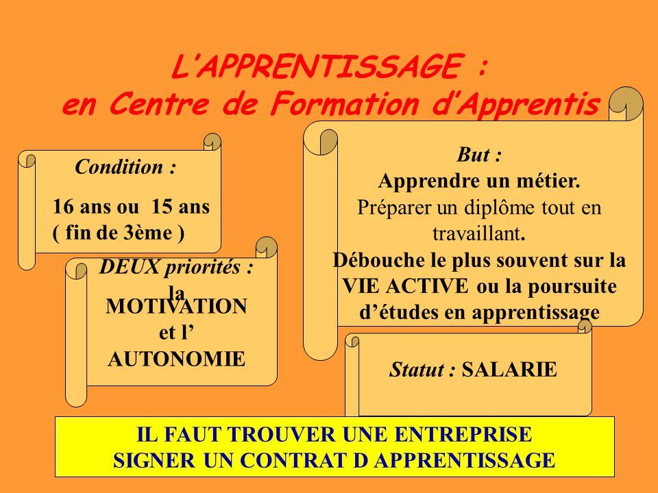 L'APPRENTISSAGE : en Centre de Formation d'Apprentis
