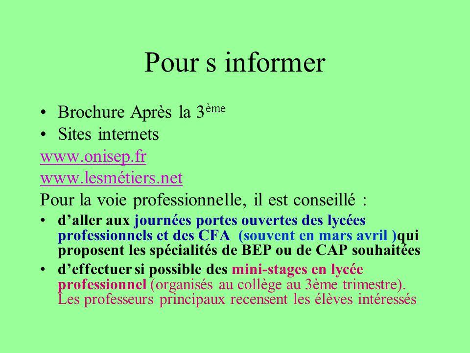 Pour s informer Brochure Après la 3ème Sites internets www.onisep.fr