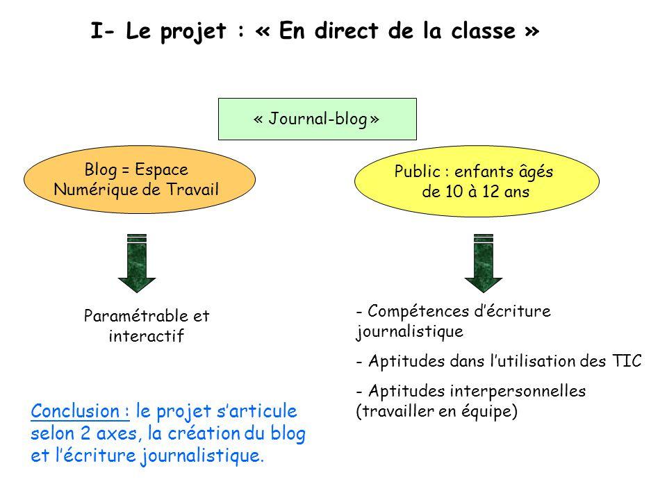 I- Le projet : « En direct de la classe »