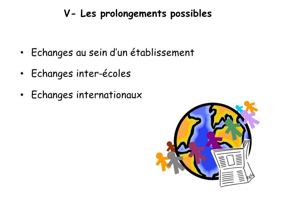 V- Les prolongements possibles