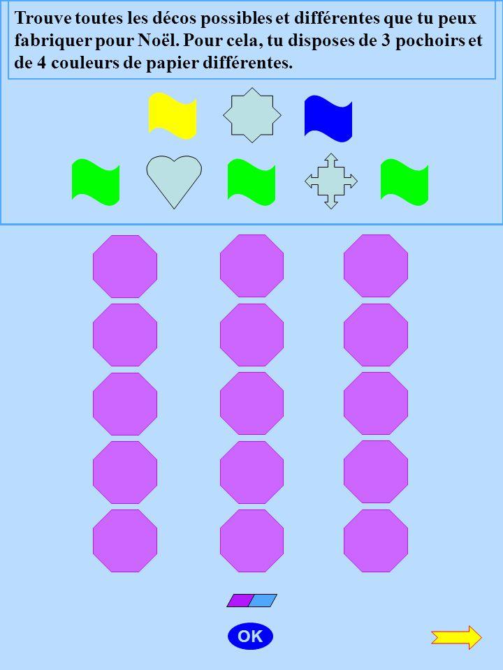 Trouve toutes les décos possibles et différentes que tu peux fabriquer pour Noël. Pour cela, tu disposes de 3 pochoirs et de 4 couleurs de papier différentes.