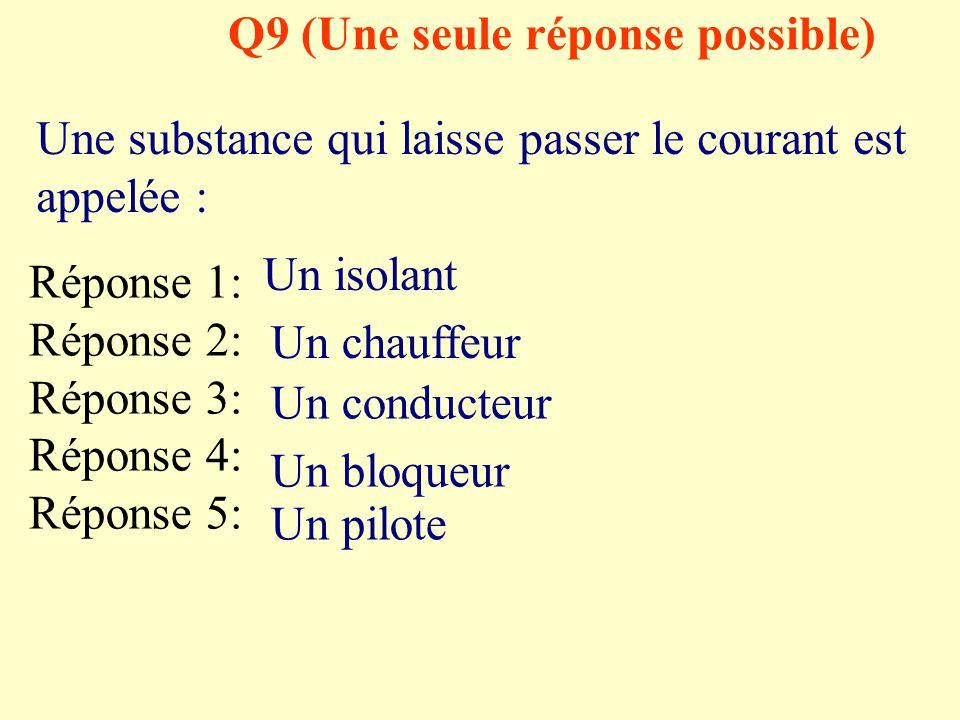 Q9 (Une seule réponse possible)
