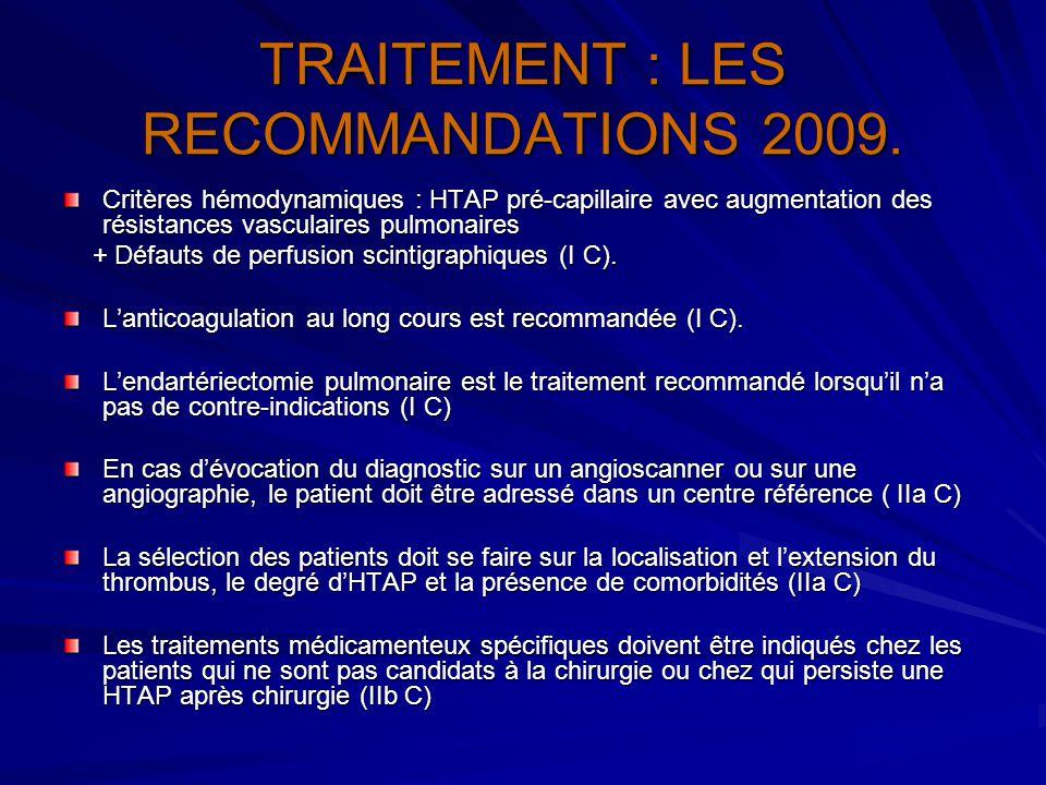 TRAITEMENT : LES RECOMMANDATIONS 2009.