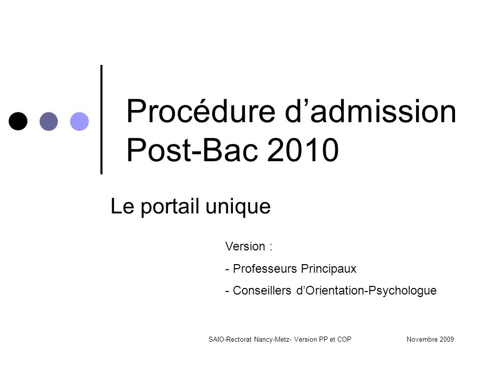 Procédure d'admission Post-Bac 2010