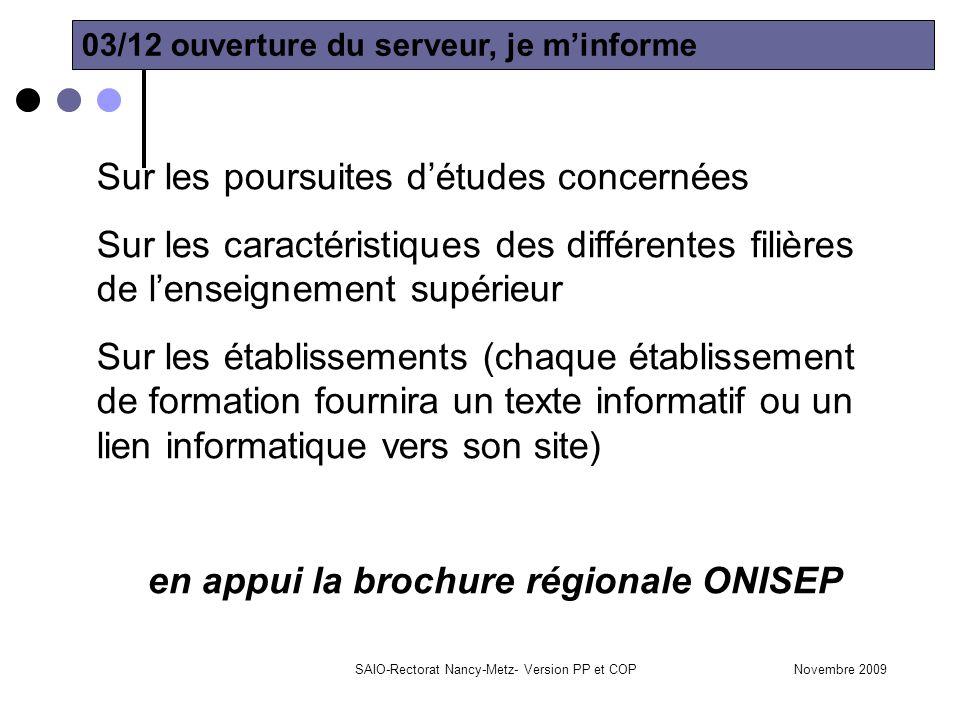 en appui la brochure régionale ONISEP