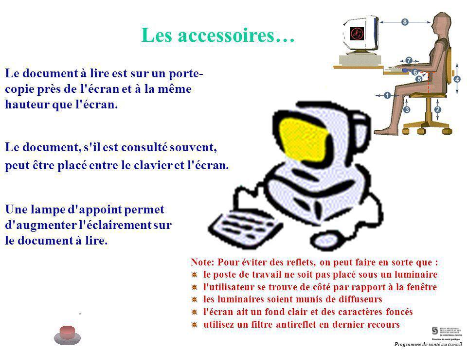 Les accessoires… Le document à lire est sur un porte-copie près de l écran et à la même hauteur que l écran.