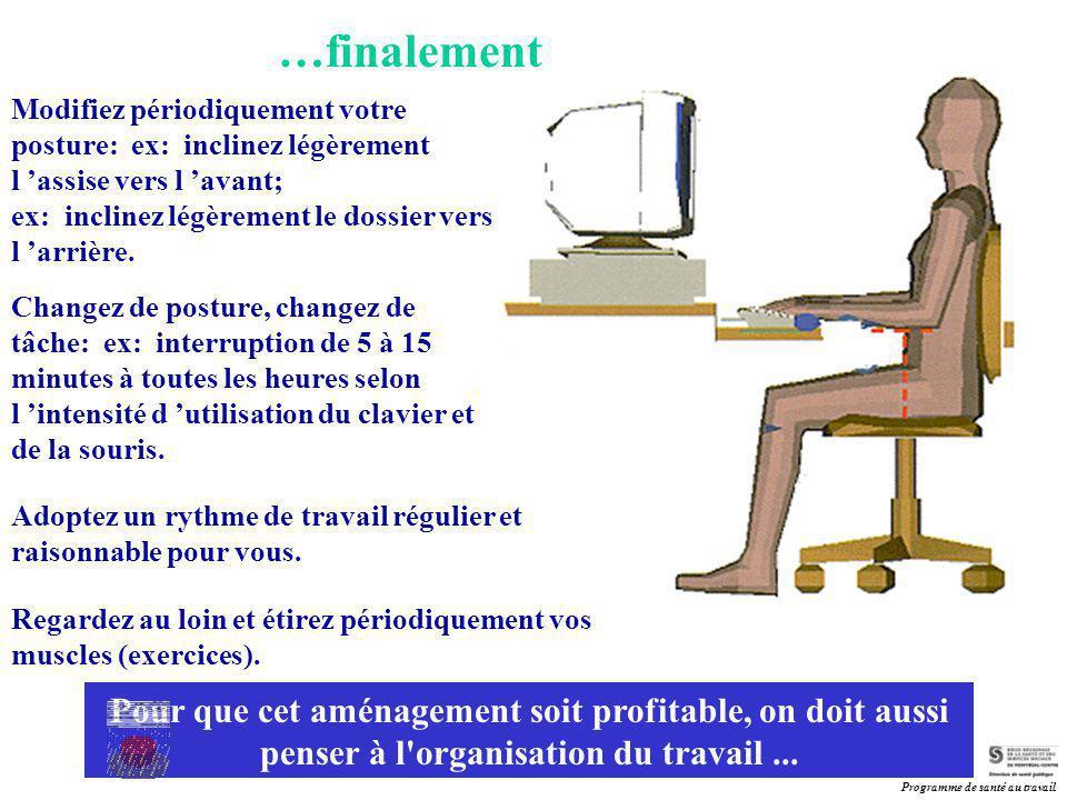 …finalement Modifiez périodiquement votre posture: ex: inclinez légèrement l 'assise vers l 'avant;