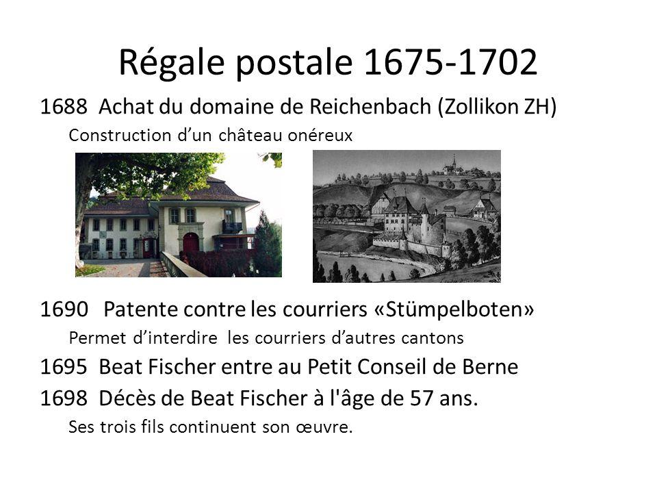 Régale postale 1675-1702 Achat du domaine de Reichenbach (Zollikon ZH)