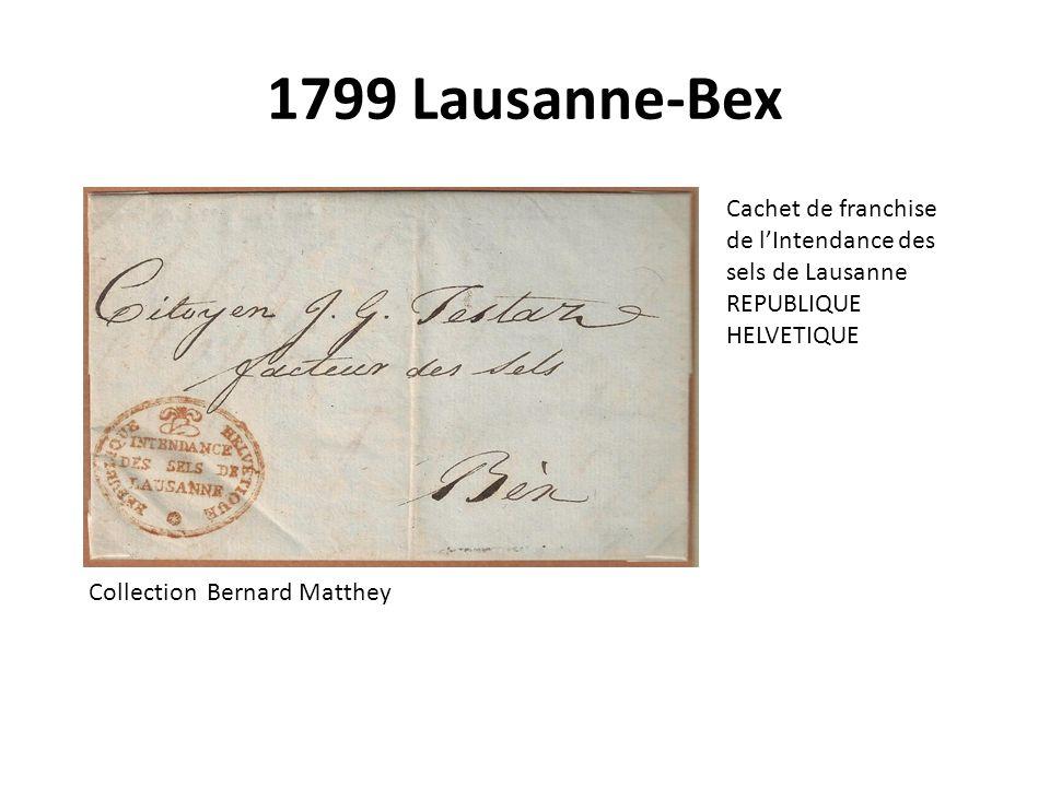 1799 Lausanne-Bex Cachet de franchise de l'Intendance des sels de Lausanne. REPUBLIQUE HELVETIQUE.
