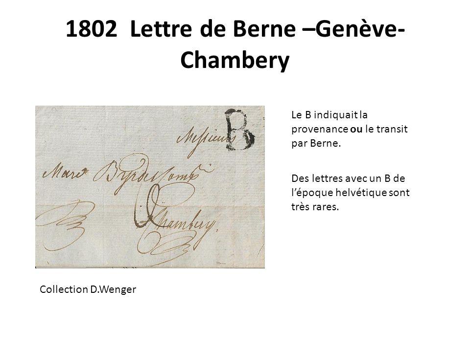 1802 Lettre de Berne –Genève-Chambery