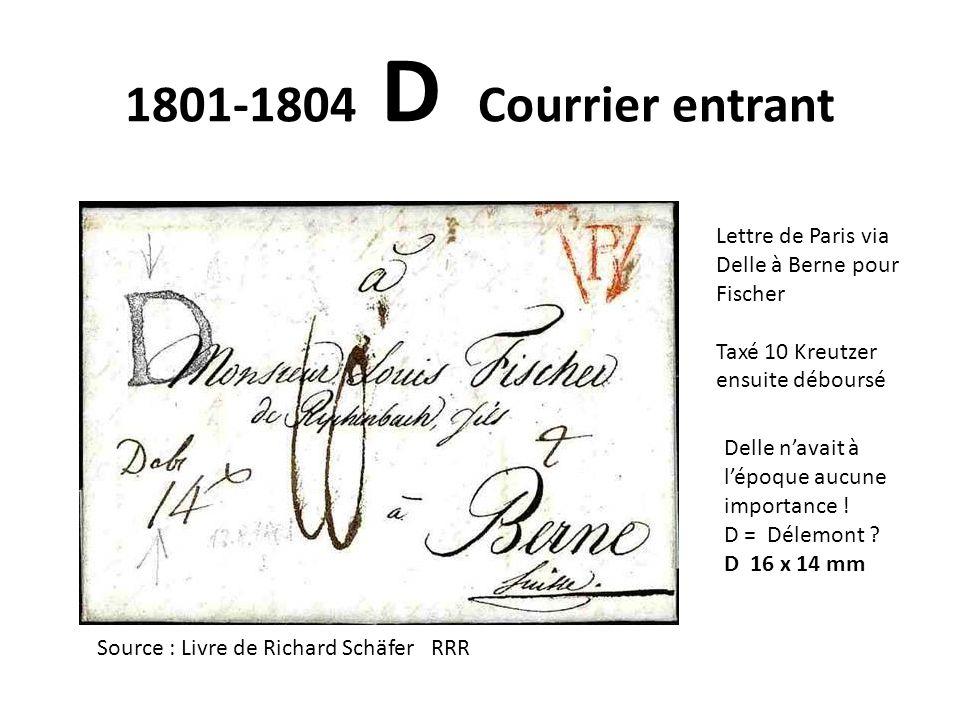 1801-1804 D Courrier entrant Lettre de Paris via Delle à Berne pour Fischer. Taxé 10 Kreutzer ensuite déboursé.
