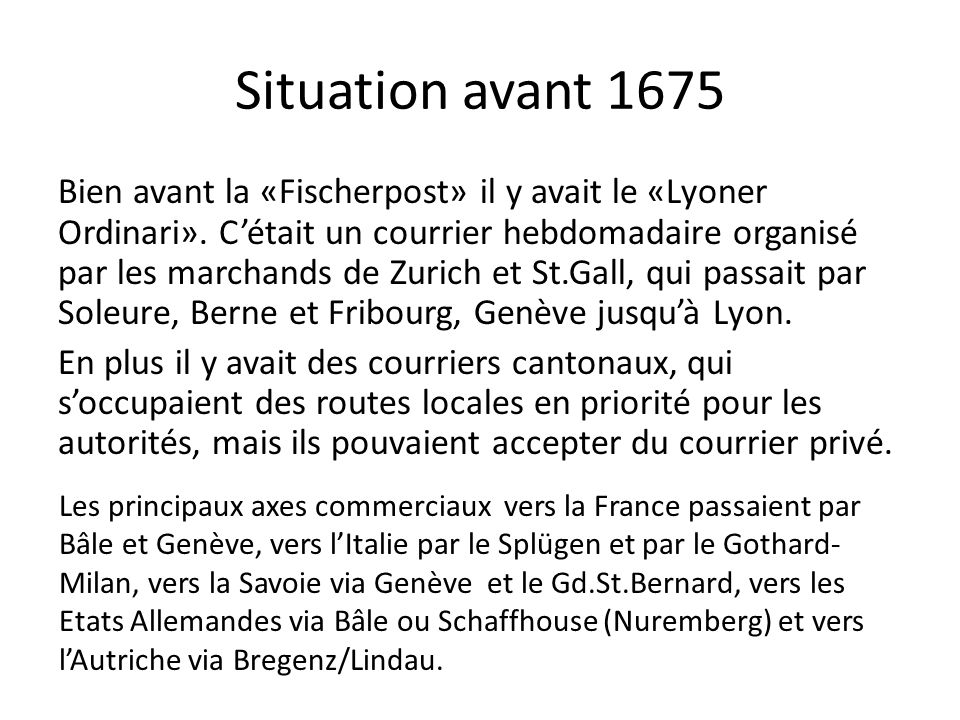 Situation avant 1675
