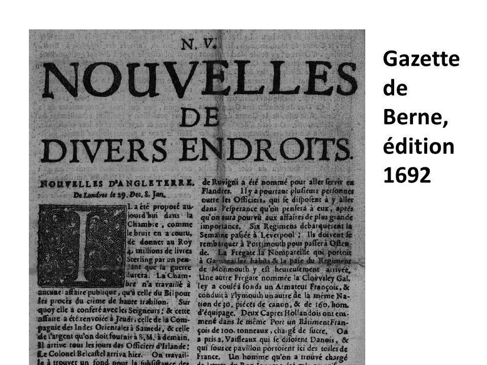 Gazette de Berne, édition 1692