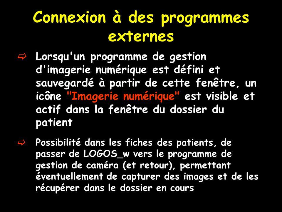Connexion à des programmes externes