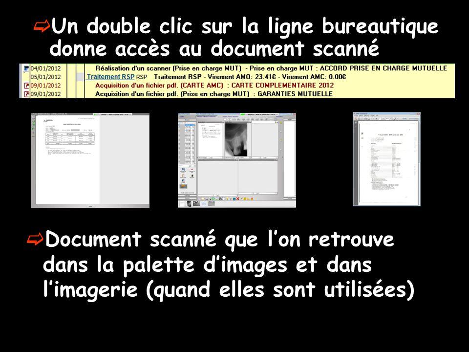 Un double clic sur la ligne bureautique donne accès au document scanné