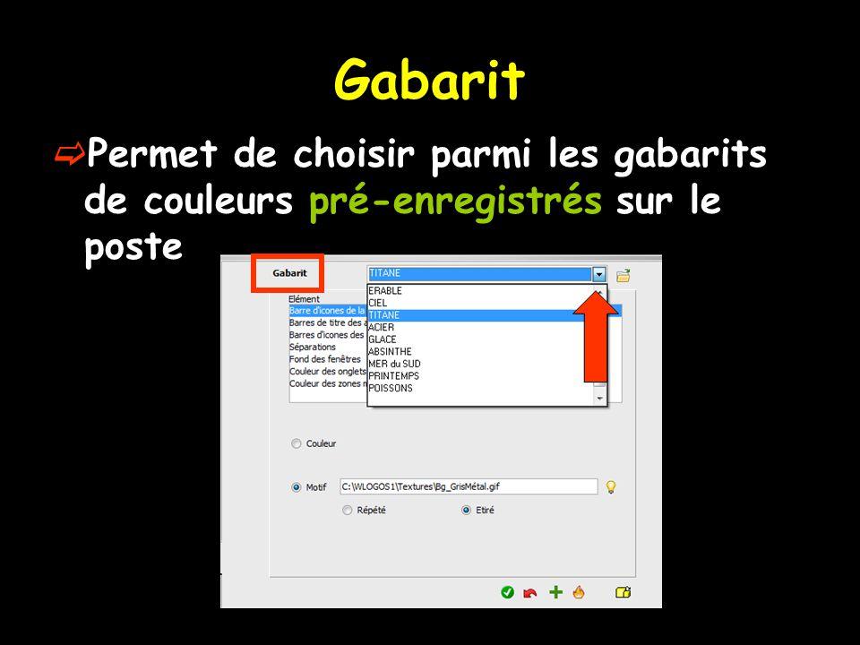 Gabarit Permet de choisir parmi les gabarits de couleurs pré-enregistrés sur le poste