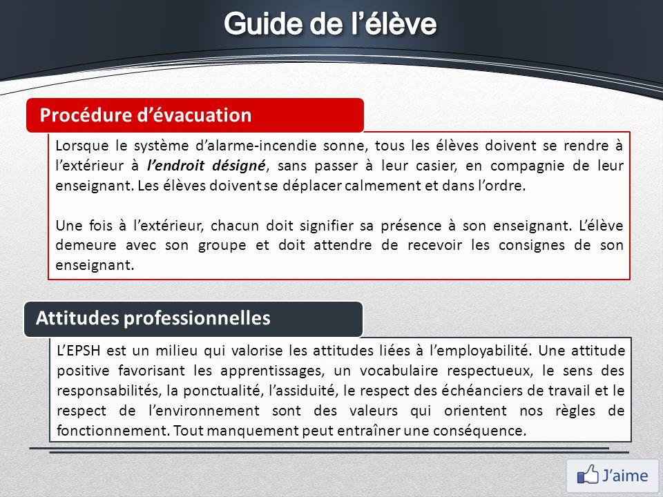 Guide de l'élève Procédure d'évacuation Attitudes professionnelles