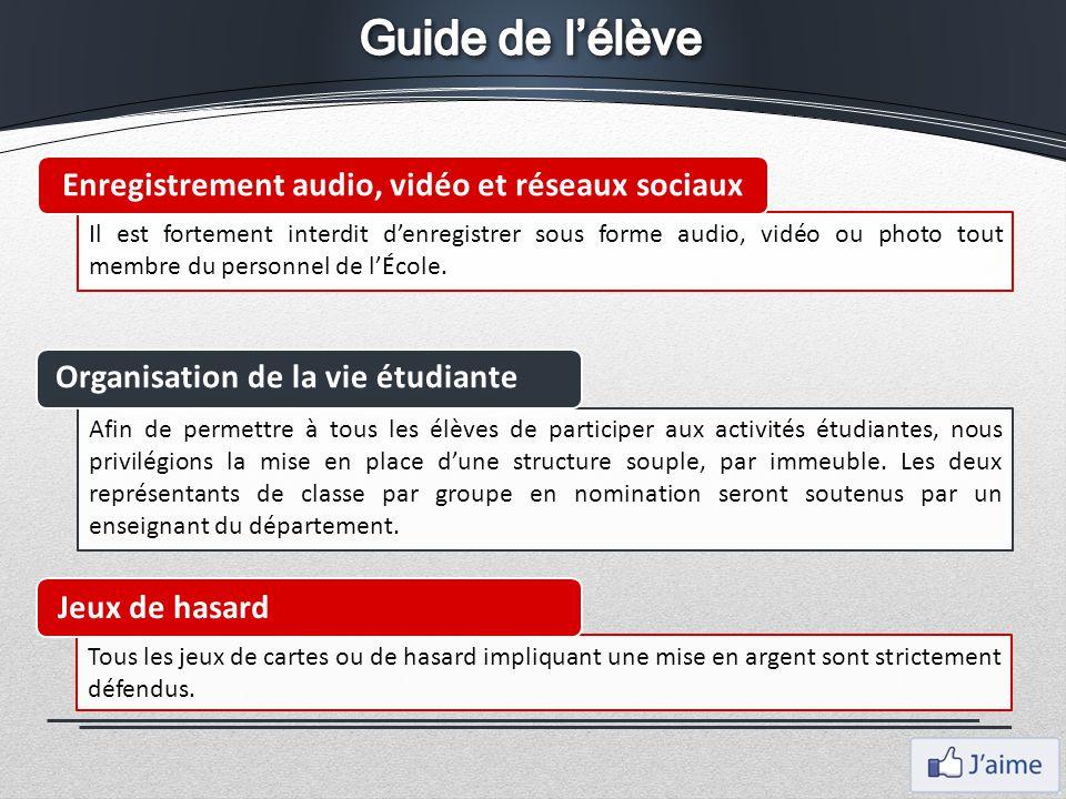 Guide de l'élève Enregistrement audio, vidéo et réseaux sociaux
