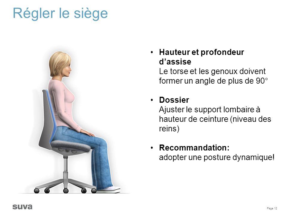 Régler le siège Hauteur et profondeur d'assise Le torse et les genoux doivent former un angle de plus de 90°