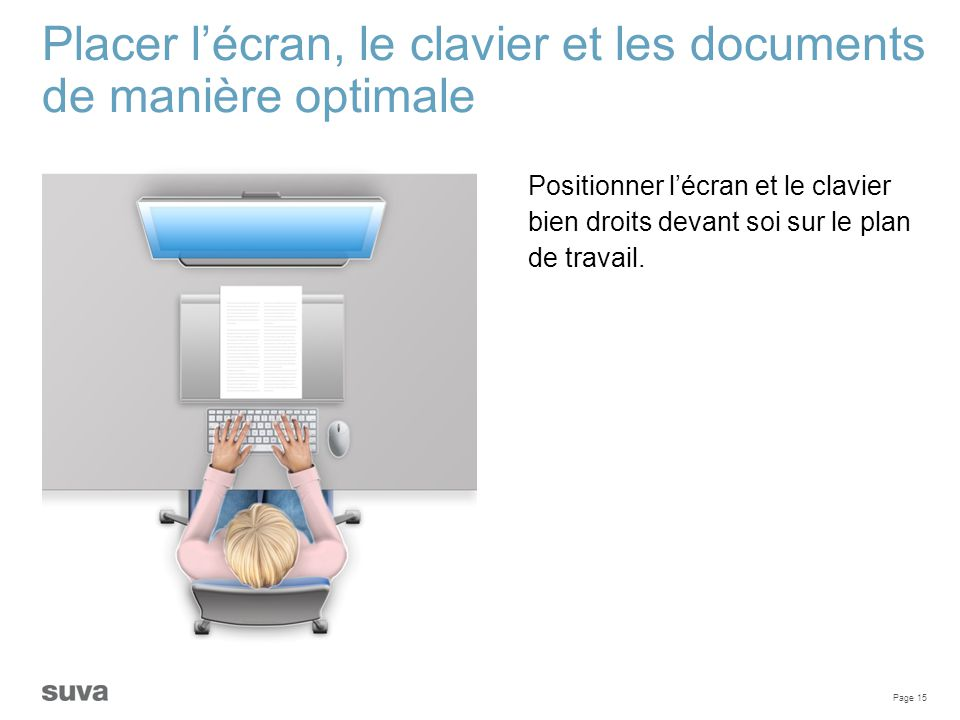 Placer l'écran, le clavier et les documents de manière optimale