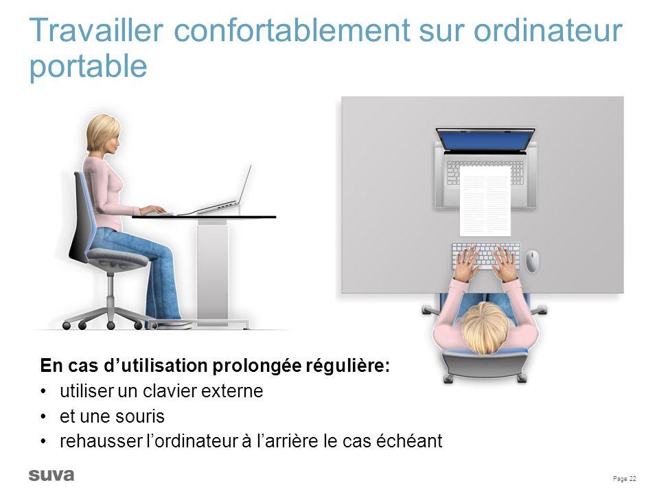 Travailler confortablement sur ordinateur portable