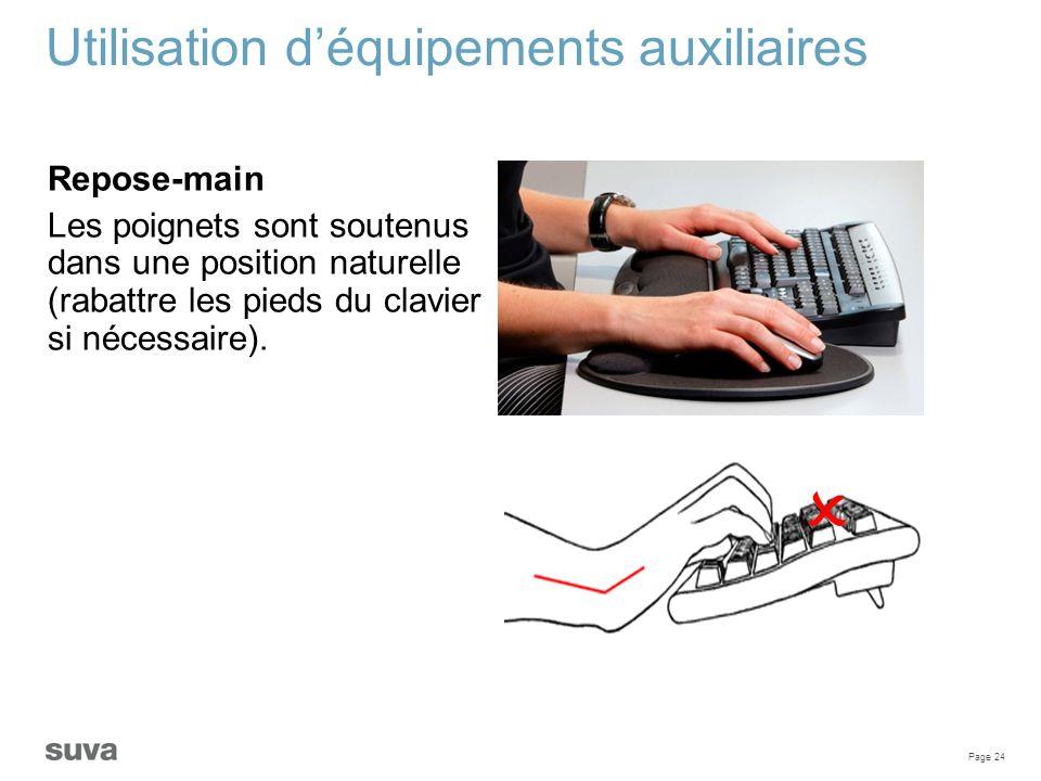  Utilisation d'équipements auxiliaires Repose-main