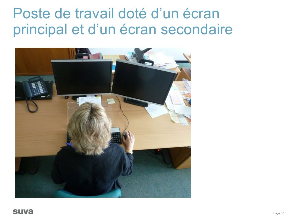 Poste de travail doté d'un écran principal et d'un écran secondaire