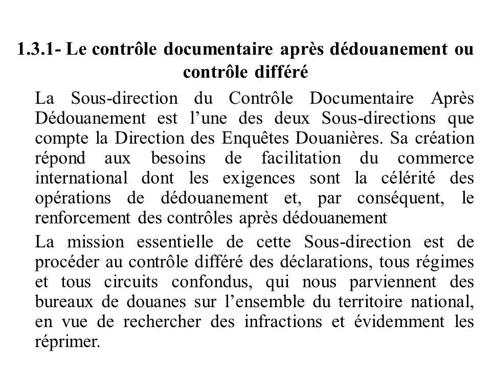 1.3.1- Le contrôle documentaire après dédouanement ou contrôle différé