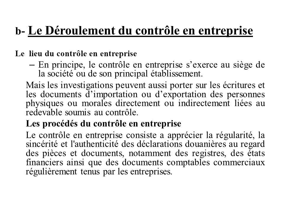 b- Le Déroulement du contrôle en entreprise