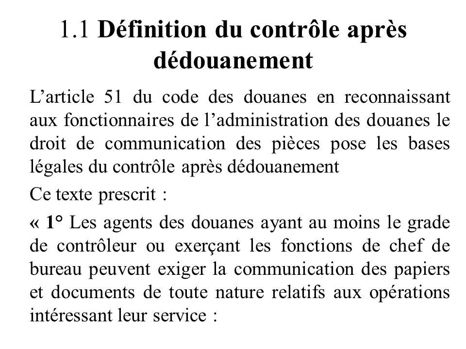 1.1 Définition du contrôle après dédouanement
