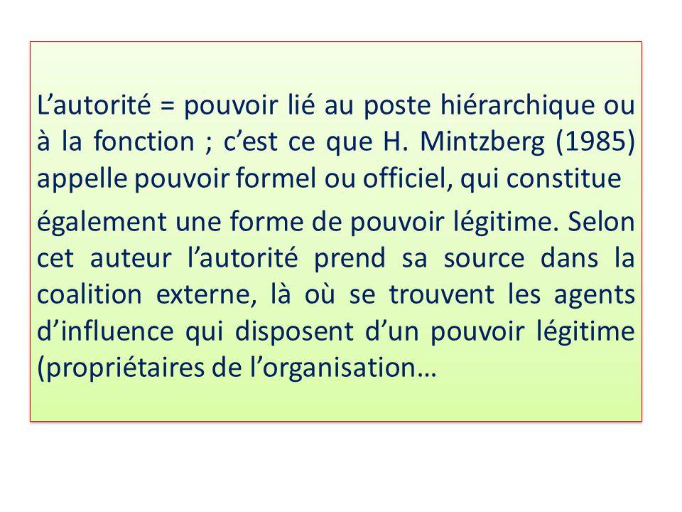 L'autorité = pouvoir lié au poste hiérarchique ou à la fonction ; c'est ce que H. Mintzberg (1985) appelle pouvoir formel ou officiel, qui constitue