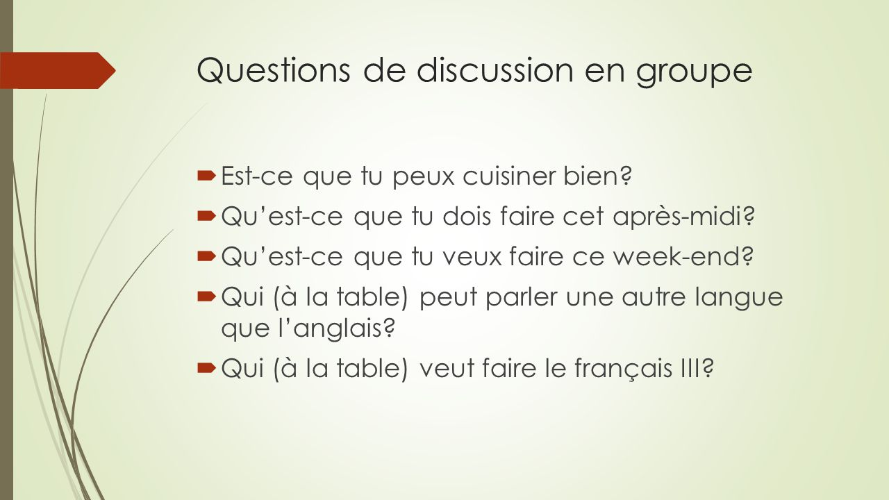 Questions de discussion en groupe