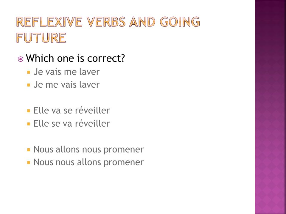 Reflexive verbs and going future