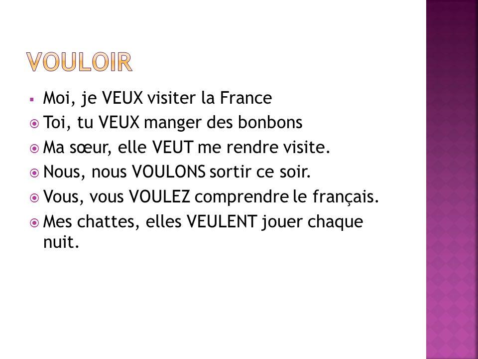 VOULOIR Moi, je VEUX visiter la France Toi, tu VEUX manger des bonbons