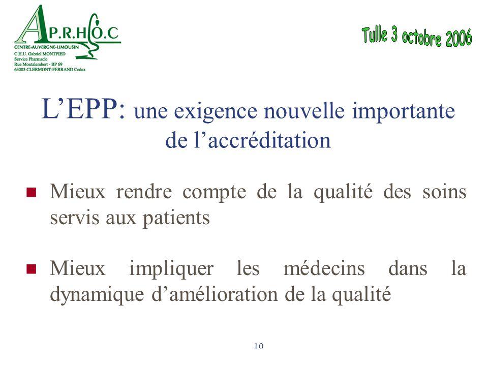 L'EPP: une exigence nouvelle importante de l'accréditation