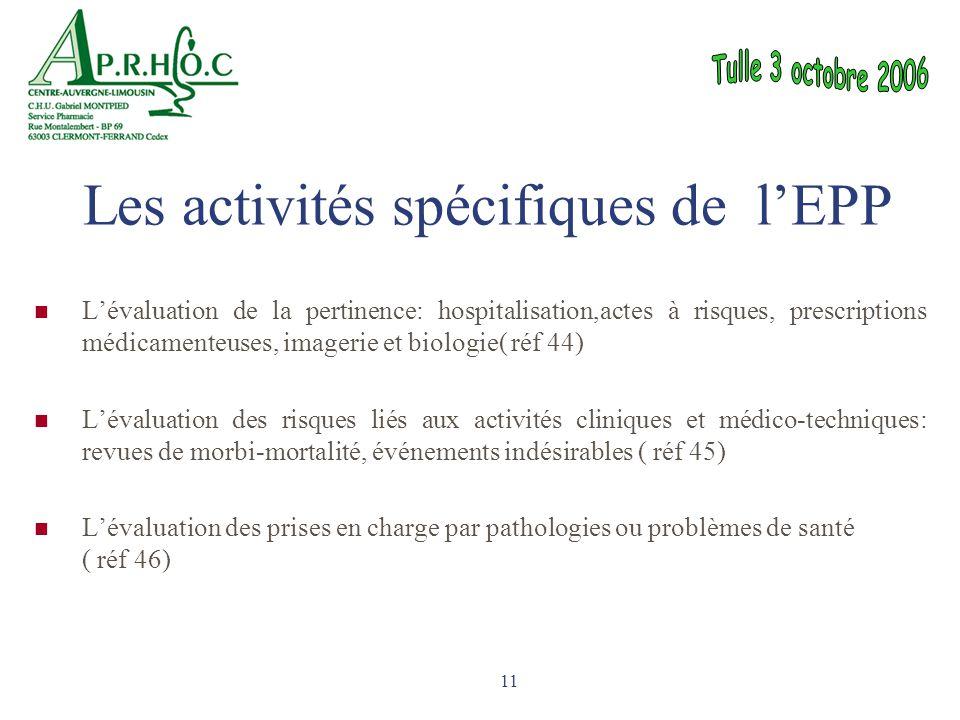 Les activités spécifiques de l'EPP