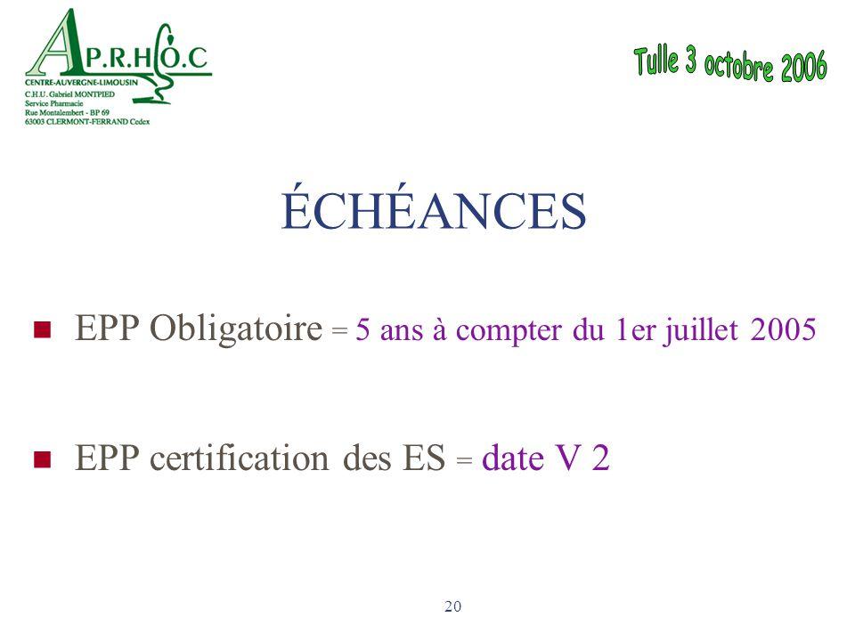 ÉCHÉANCES EPP Obligatoire = 5 ans à compter du 1er juillet 2005