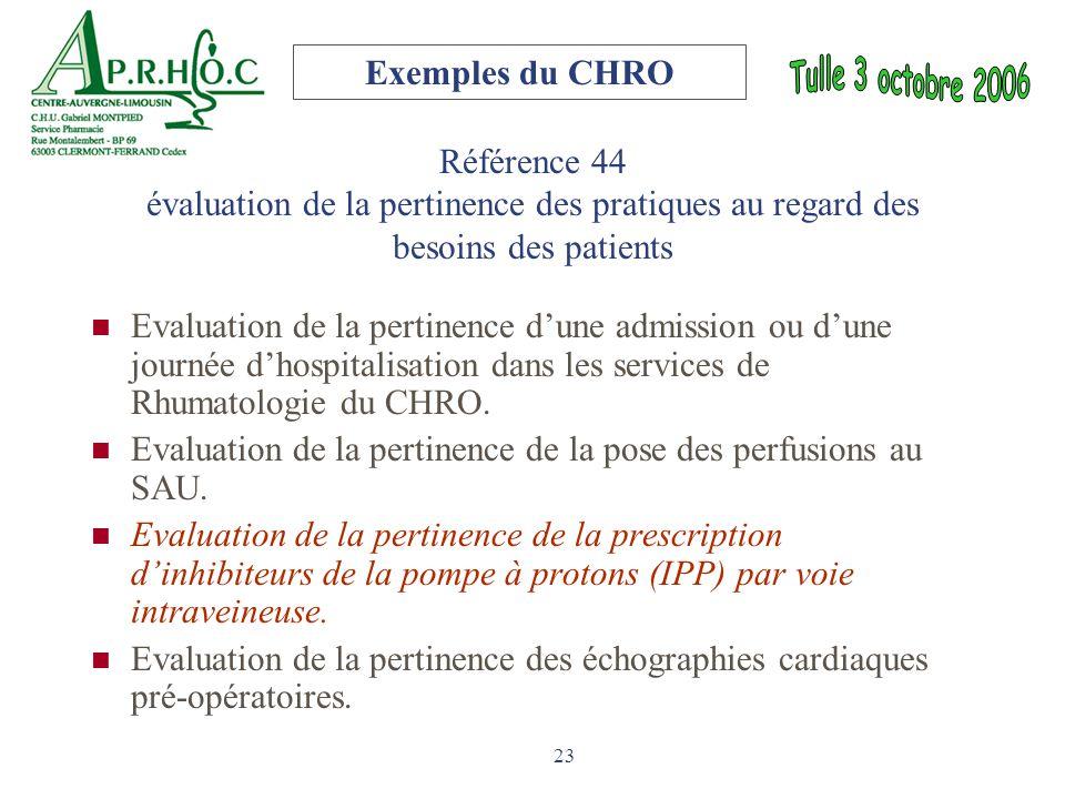 Exemples du CHRO Référence 44 évaluation de la pertinence des pratiques au regard des besoins des patients.