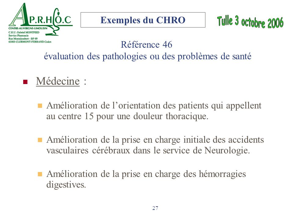 Référence 46 évaluation des pathologies ou des problèmes de santé