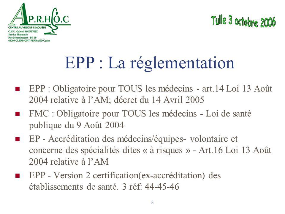 EPP : La réglementation