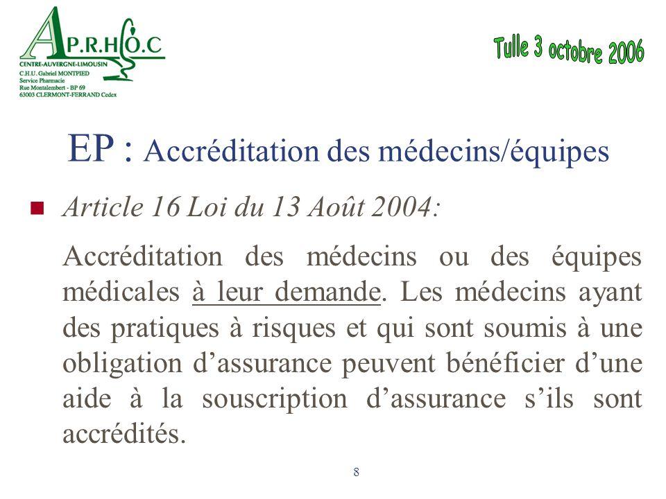 EP : Accréditation des médecins/équipes
